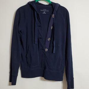 J CREW blue heavyweight jersey hoodie sweatshirt